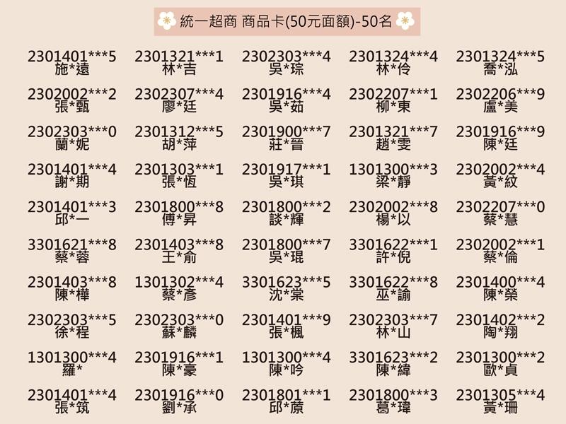 忠誠會員中獎名單06
